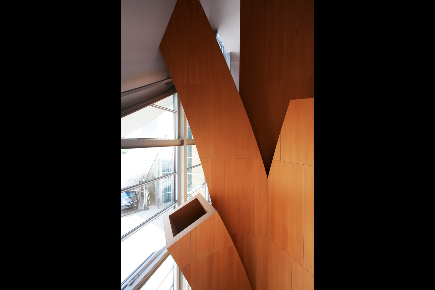 hollow tree-like wooden columns conceal hvac and wiring at the Walt Disney Concert Hall, photographed by Jacob Rosenfeld