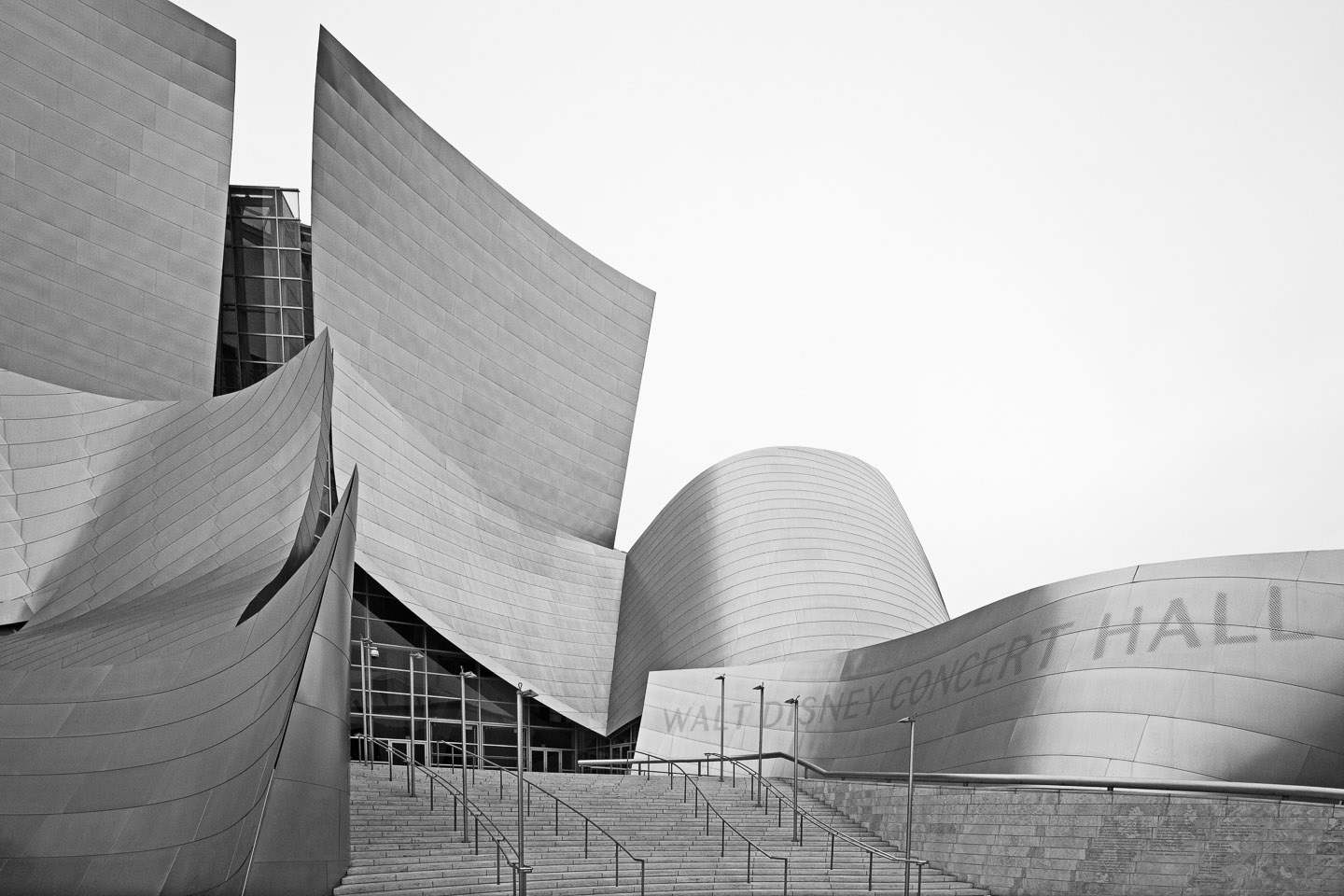the main entrance of the Walt Disney Concert Hall, designed by Frank Gehry, located in Los Angeles, photographed by Jacob Rosenfeld
