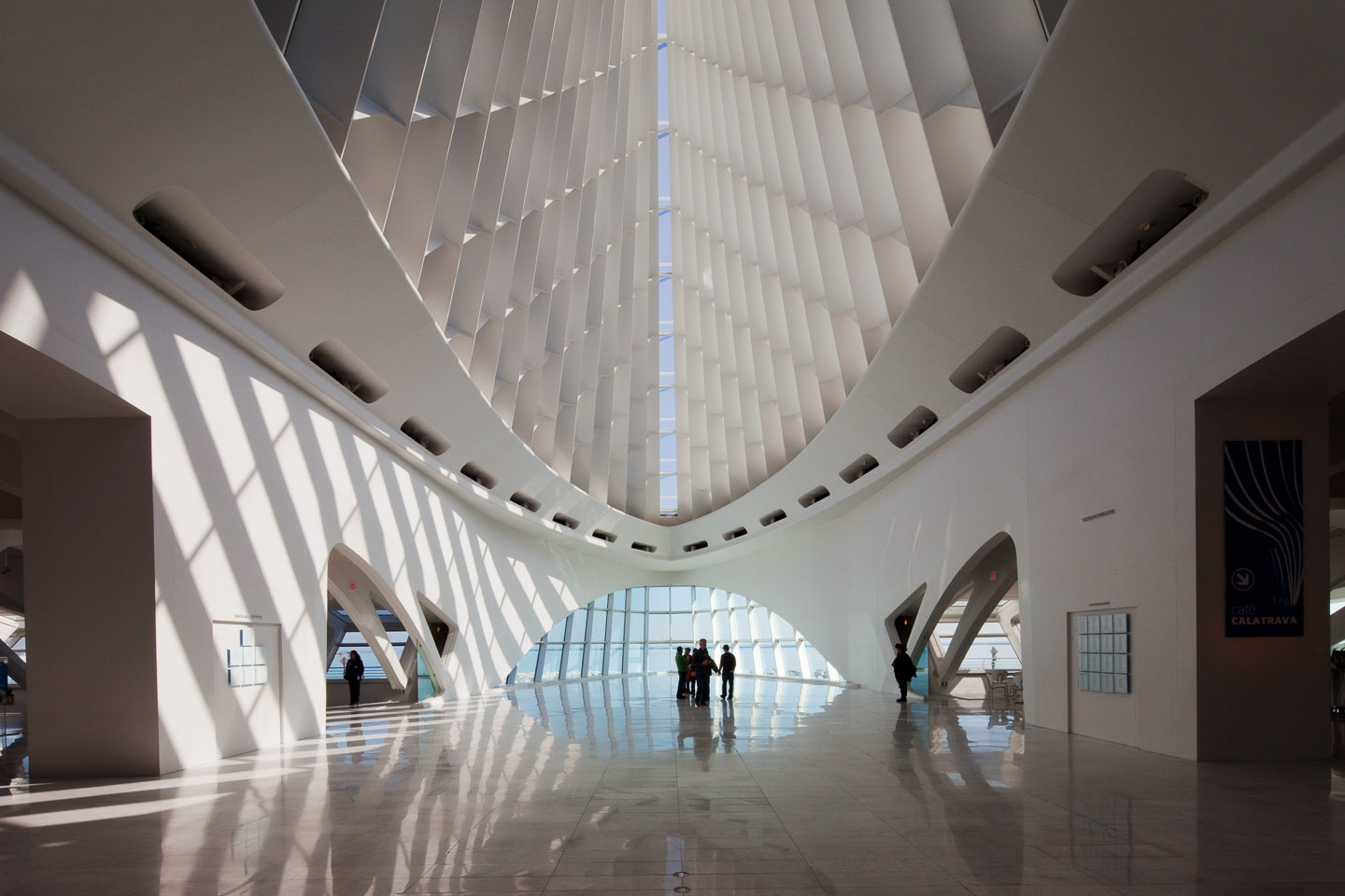 the main gallery space with vaulted glass ceiling at the Milwaukee Art Museum, designed by Santiago Calatrava, photographed by Jacob Rosenfeld