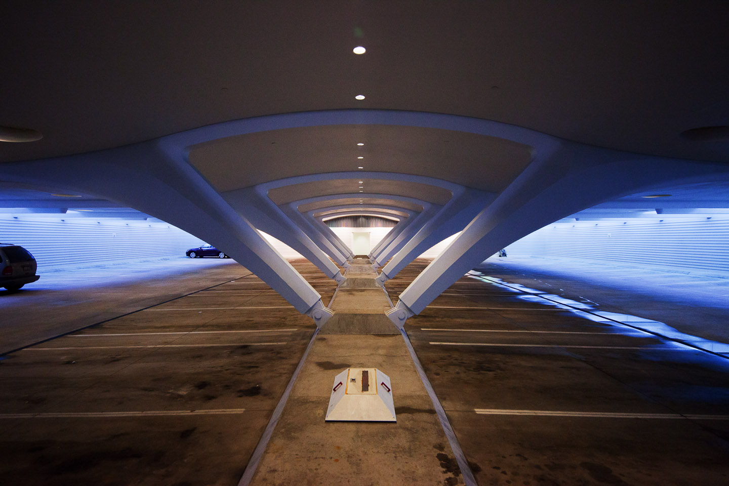 the underground parking structure of the Milwaukee Art Museum, designed by Santiago Calatrava, photographed by Jacob Rosenfeld