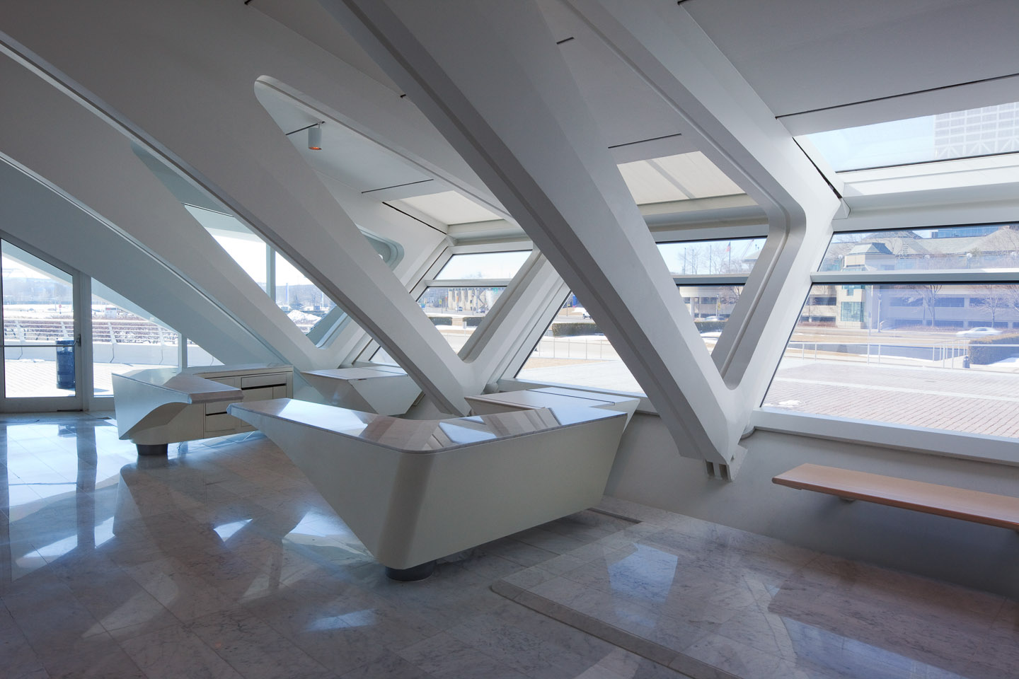 some interior structural bays at the Milwaukee Art Museum, designed by Santiago Calatrava, photographed by Jacob Rosenfeld