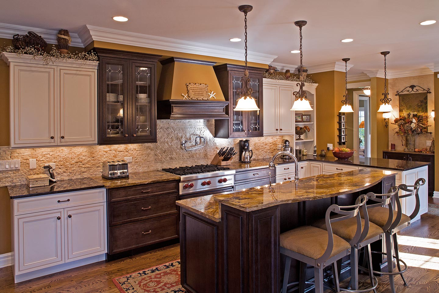 a large open custom kitchen beautifully decorated (angle 1), photographed by Jacob Rosenfeld