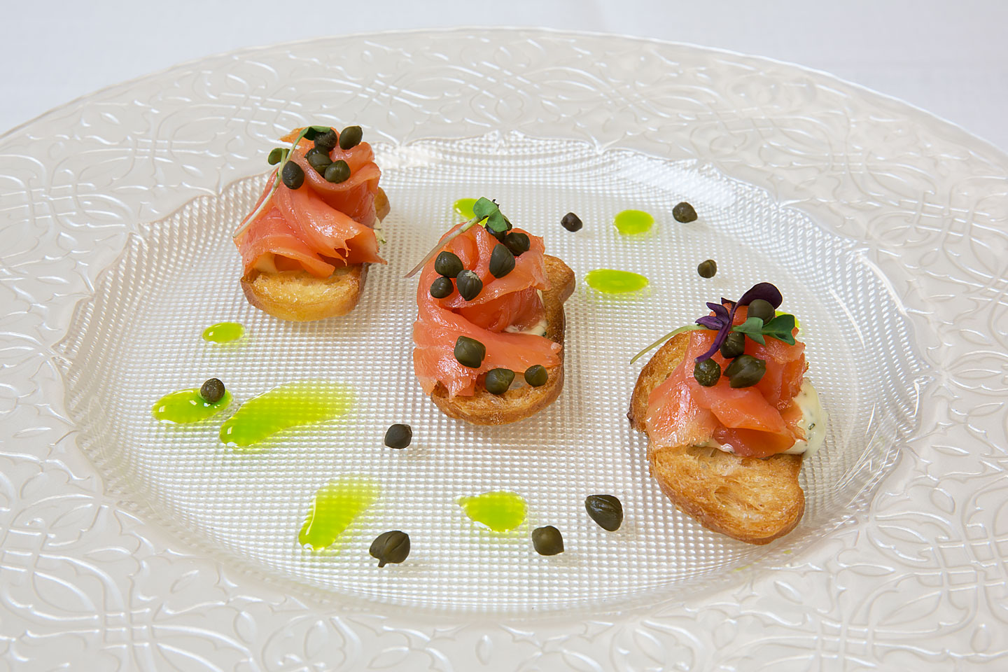a beautiful looking salmon crustini appetizer, photographed by Jacob Rosenfeld