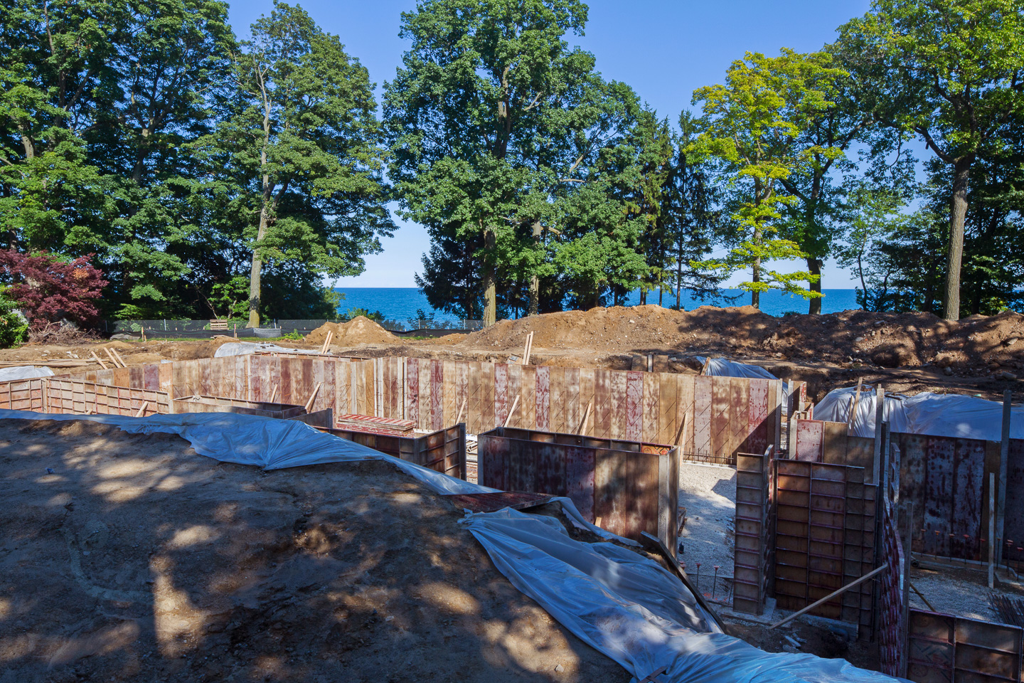 Concrete forms are ready to accept pour for this home on Lake Michigan