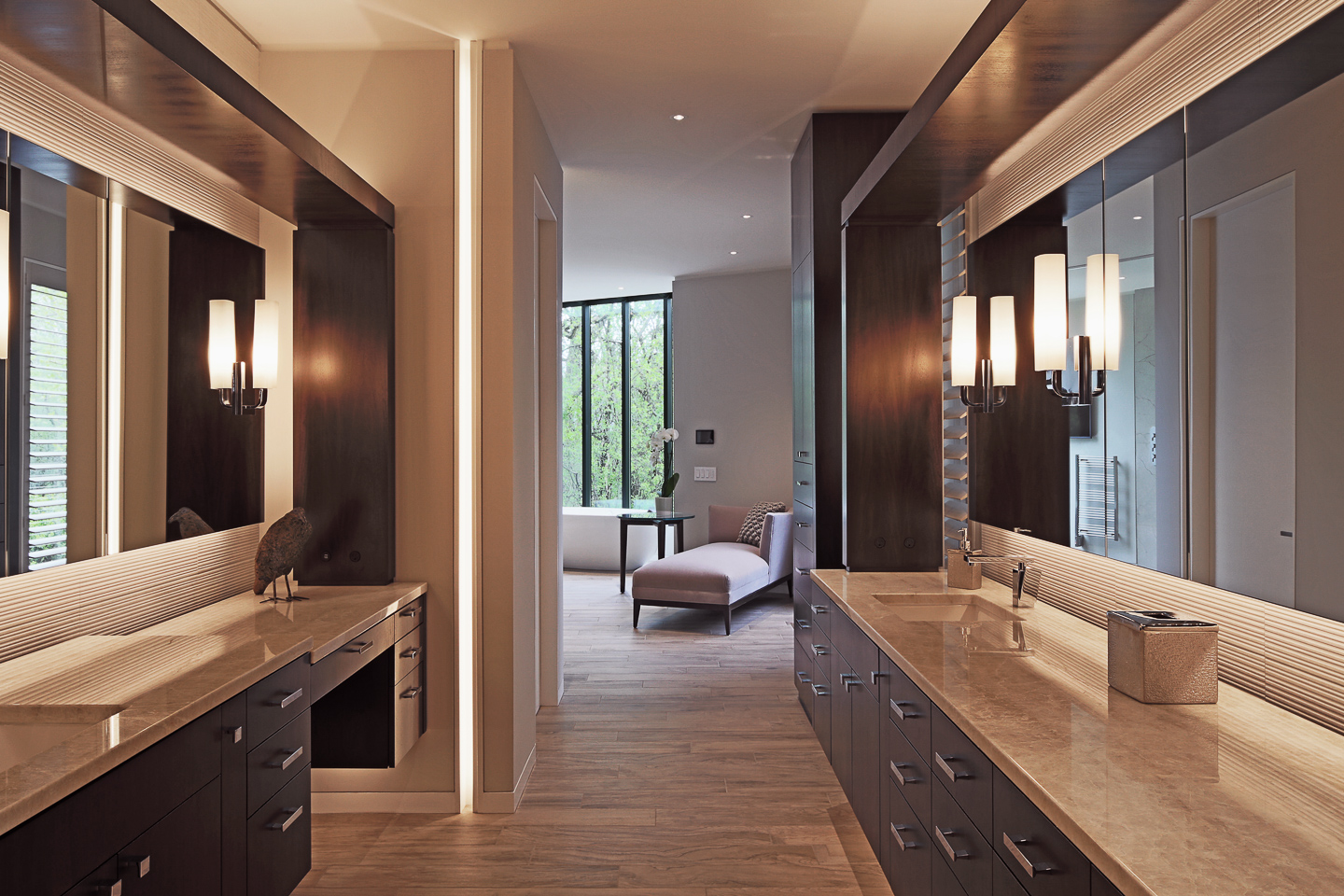 his and hers modern master bath floating vanities featuring dark wood, granite, and polished chrome fixtures, photographed by Jacob Rosenfeld