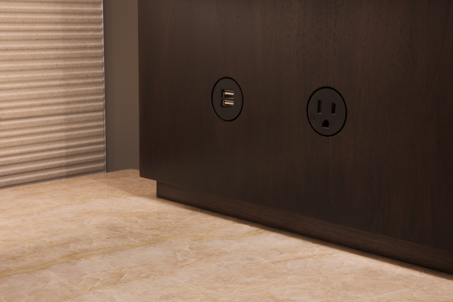 the devil is in the details; custom flush mounted outlet receptacles, photographed by Jacob Rosenfeld