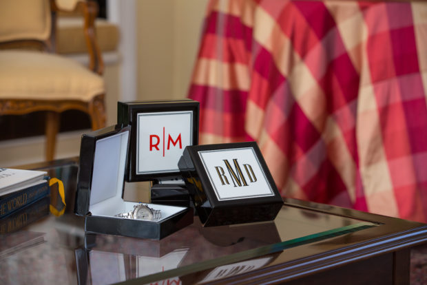 Monogrammed lacquer boxes